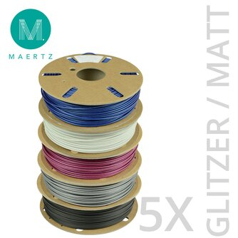 Maertz PLA Matt / Glitzer Filament 5er Flex-Bundle